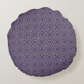 Stylized Floral Check Round Pillow