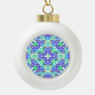 Stylized Floral Check Seamless Pattern Ceramic Ball Ornament
