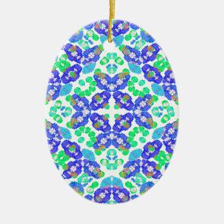 Stylized Floral Check Seamless Pattern Ceramic Oval Ornament