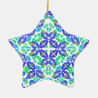 Stylized Floral Check Seamless Pattern Ceramic Star Ornament