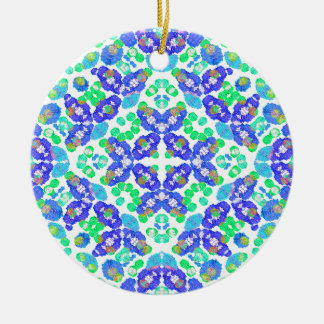 Stylized Floral Check Seamless Pattern Round Ceramic Ornament