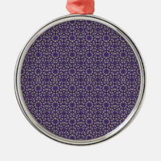Stylized Floral Check Silver-Colored Round Ornament