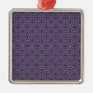 Stylized Floral Check Silver-Colored Square Ornament