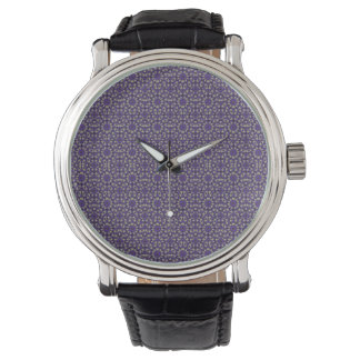 Stylized Floral Check Watch