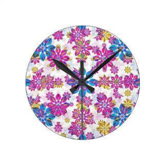 Stylized Floral Ornate Pattern Round Clock