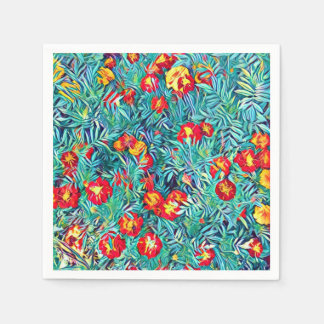 Stylized Flowers Painting Paper Napkin