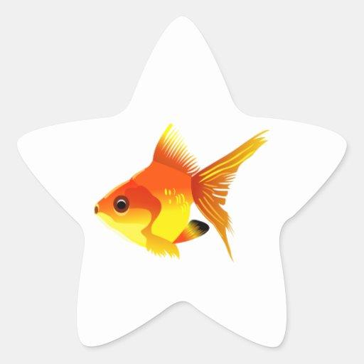Stylized Goldfish Star Sticker