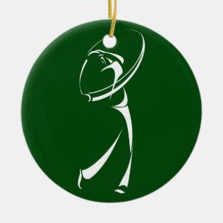 Stylized Golfer Teeing Off Ceramic Ornament