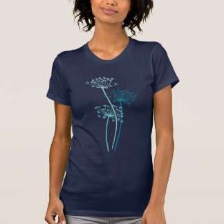 Stylized Graphic modern flower aqua blue t-shirt