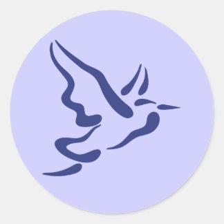 Stylized Heron in Flight Round Sticker