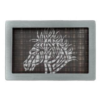 Stylized Horses Head on a woven background Belt Buckle