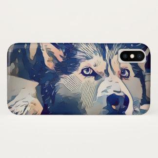 Stylized Husky Drawing iPhone X Case