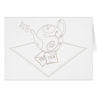 Stylized linework tea pot with tea bags greeting card