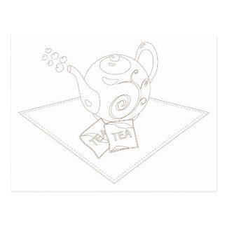 Stylized linework tea pot with tea bags postcards