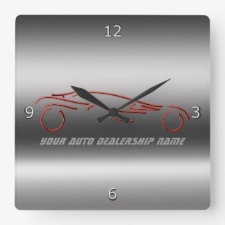 Stylized Neon Red Sportscars on metallic-look Square Wall Clock