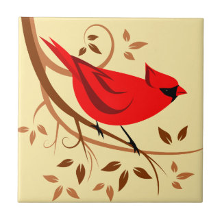 Stylized Northern Cardinal Art Tile