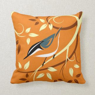 Stylized Nuthatch Bird Art Throw Pillow