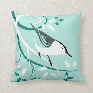 Stylized Nuthatch Gifts Throw Pillow