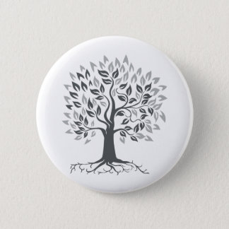 Stylized Oak Tree with Roots Retro 2 Inch Round Button