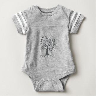 Stylized Oak Tree with Roots Retro Baby Bodysuit