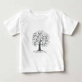 Stylized Oak Tree with Roots Retro Baby T-Shirt
