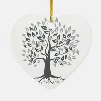 Stylized Oak Tree with Roots Retro Ceramic Ornament