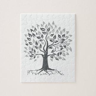 Stylized Oak Tree with Roots Retro Jigsaw Puzzle
