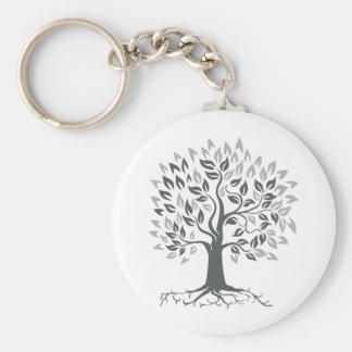 Stylized Oak Tree with Roots Retro Keychain