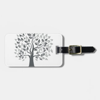 Stylized Oak Tree with Roots Retro Luggage Tag