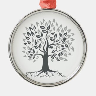Stylized Oak Tree with Roots Retro Metal Ornament