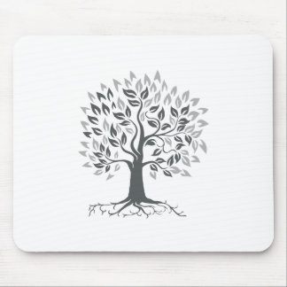 Stylized Oak Tree with Roots Retro Mouse Pad