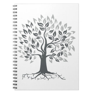 Stylized Oak Tree with Roots Retro Notebook
