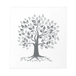 Stylized Oak Tree with Roots Retro Notepad