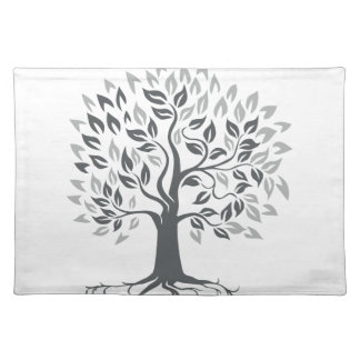 Stylized Oak Tree with Roots Retro Placemat