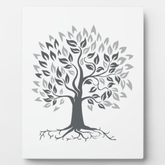 Stylized Oak Tree with Roots Retro Plaque