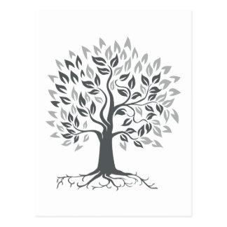 Stylized Oak Tree with Roots Retro Postcard
