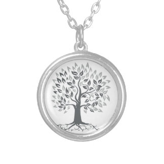 Stylized Oak Tree with Roots Retro Silver Plated Necklace