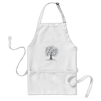 Stylized Oak Tree with Roots Retro Standard Apron