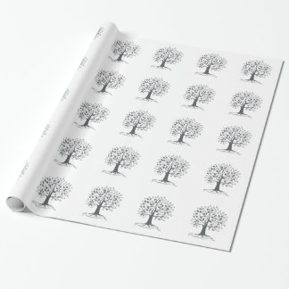 Stylized Oak Tree with Roots Retro Wrapping Paper