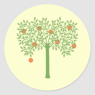 Stylized Orange Tree Classic Round Sticker