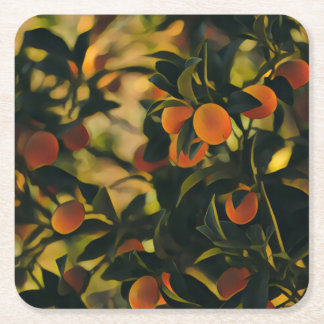 Stylized Orange Tree Coaster