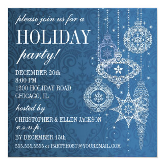 Stylized Ornaments Holiday Invitation - Blue