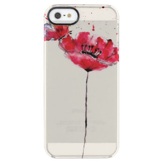Stylized painted watercolor poppy flower clear iPhone SE/5/5s case
