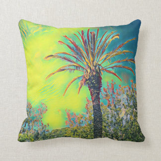 Stylized Palm Tree Throw Pillow / Cushion