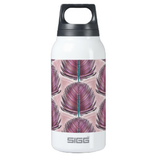 Stylized Peacock Feather - pink Insulated Water Bottle