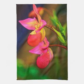 Stylized Phragmipedium Orchid Flower Duo Hand Towel