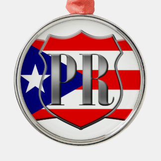 Stylized Puerto Rican Flag Silver-Colored Round Ornament