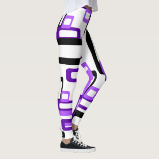 Stylized Rectangles Purple/Black Leggings