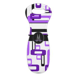 Stylized Rectangles Purple/Black Wine Bag