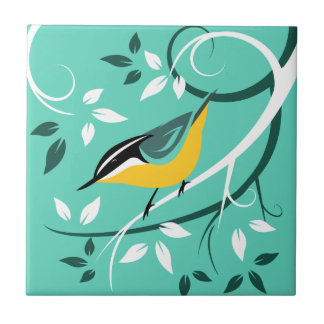 Stylized Red Breasted Nuthatch Ceramic Tile